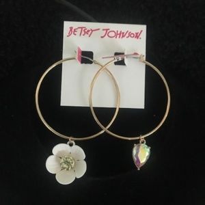"BETSEY JOHNSON ""Floral Hoops"" Earrings"